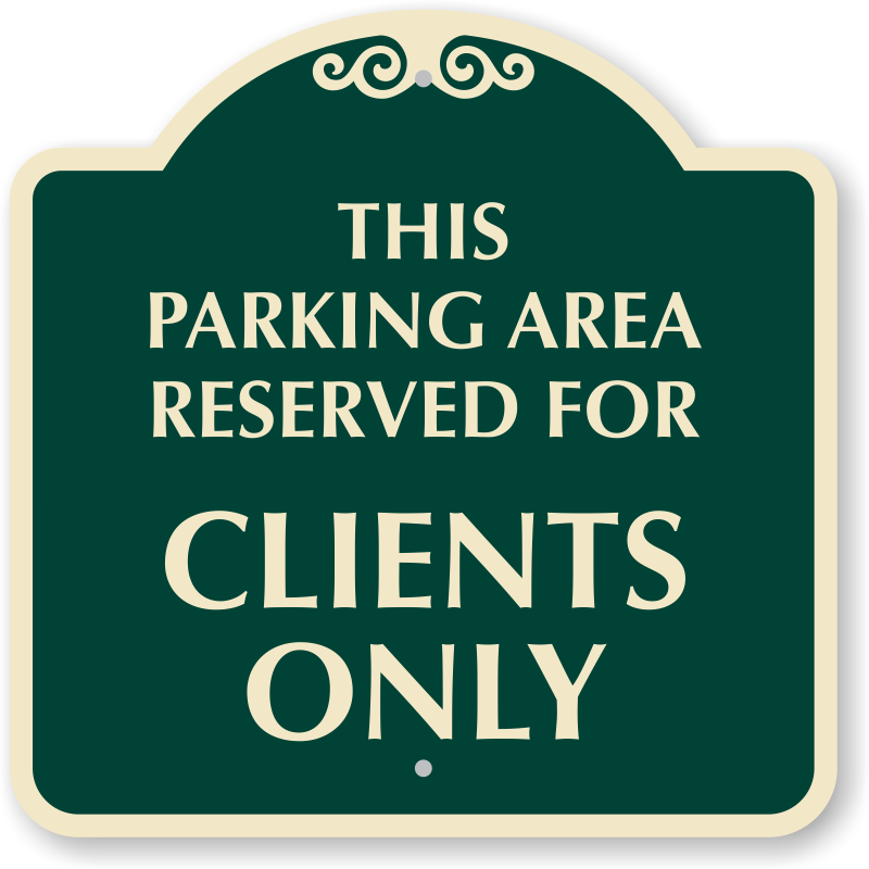 Designer signs for exit. Parking lot clipart reserved