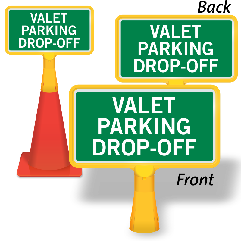 Drop off coneboss sign. Parking lot clipart valet parking