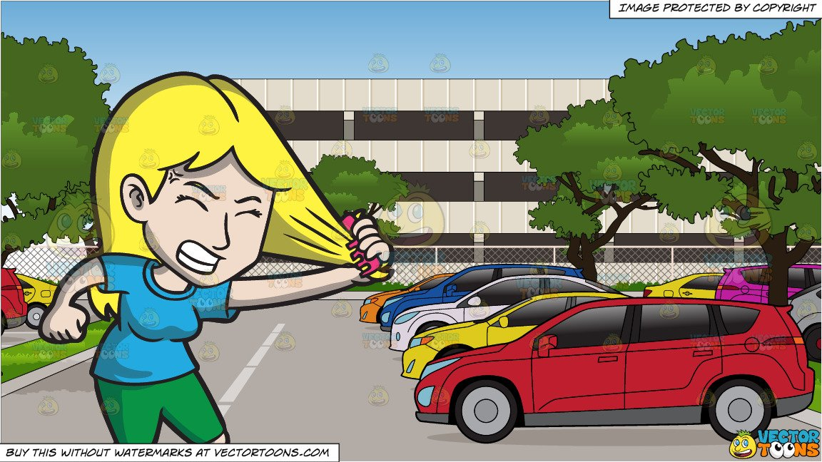 A frustrated woman pulling. Parking lot clipart vector