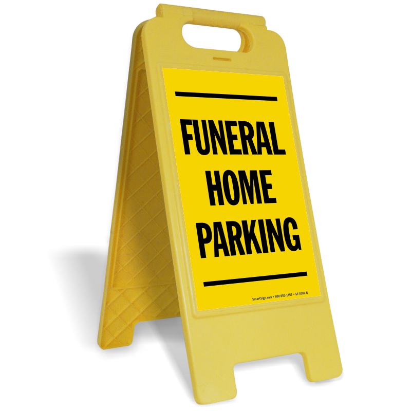 Sign stands custom standing. Parking lot clipart yellow