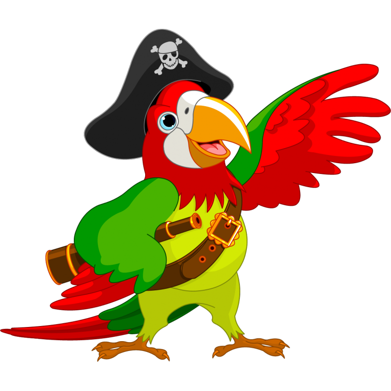Coco the pirate stickers. Parrot clipart beach