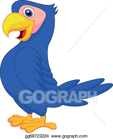 Vector cute cartoon . Parrot clipart blue parrot