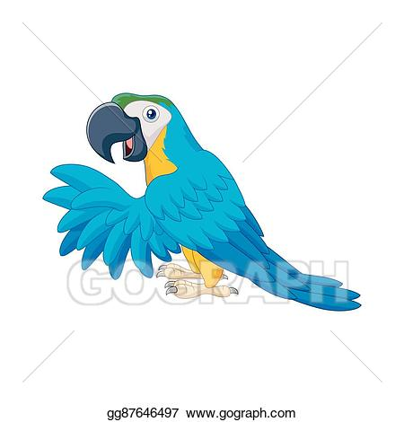 Vector stock cartoon illustration. Parrot clipart blue parrot