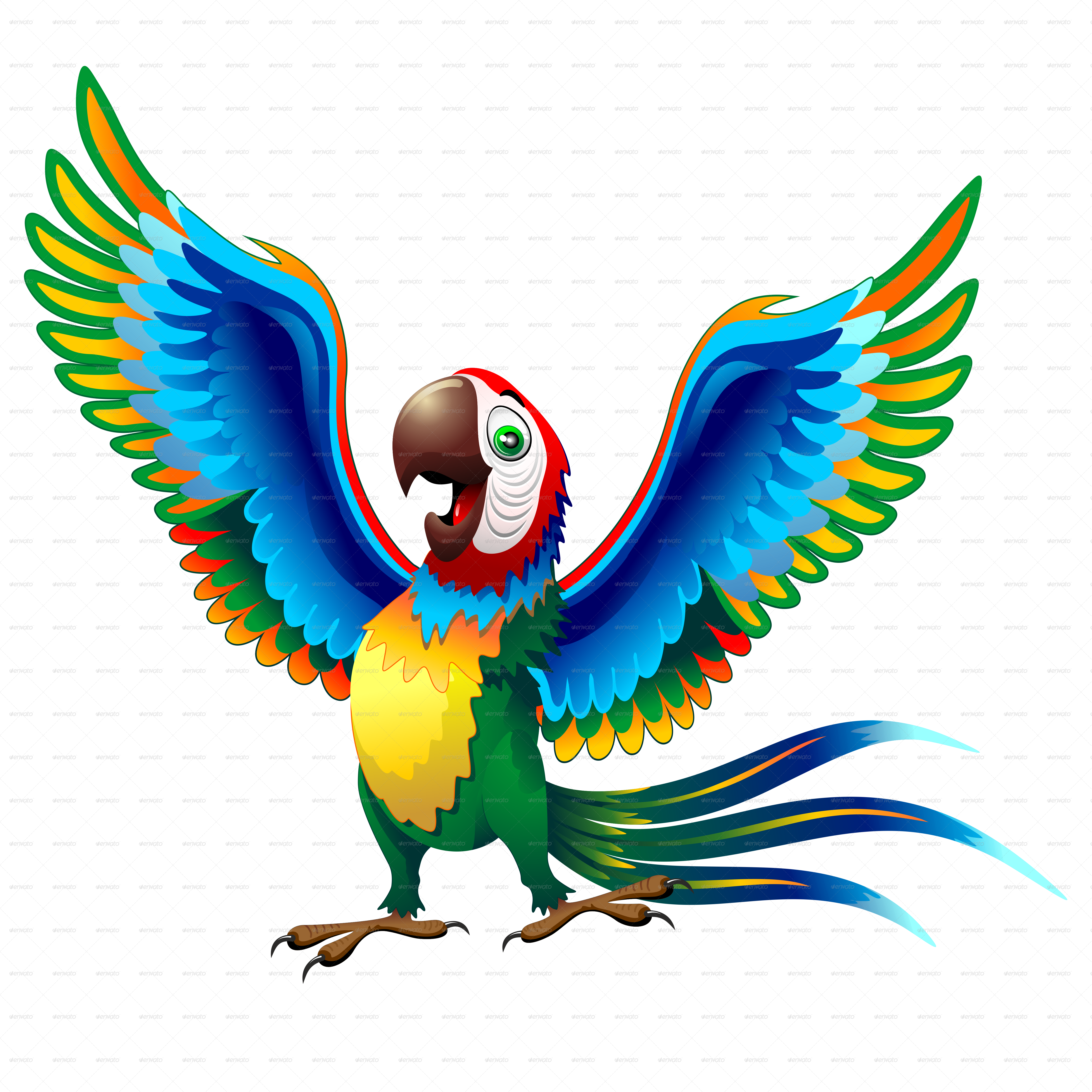 Parrot clipart blue yellow macaw. Cartoon with brazil flag