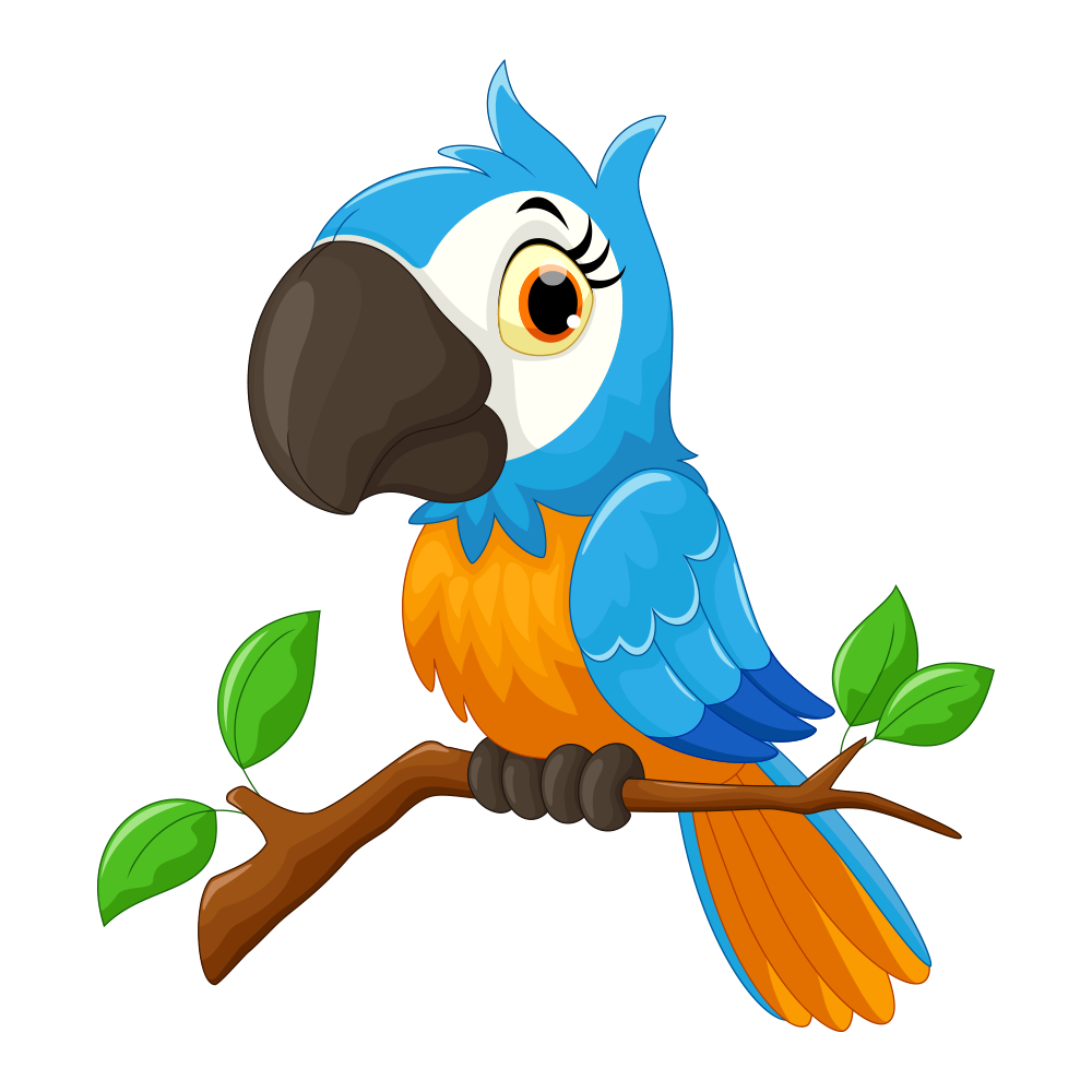 Parrot clipart branch clipart. Cartoon bird illustration blue