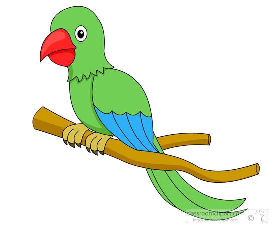 Bird green red beak. Parrot clipart branch clipart