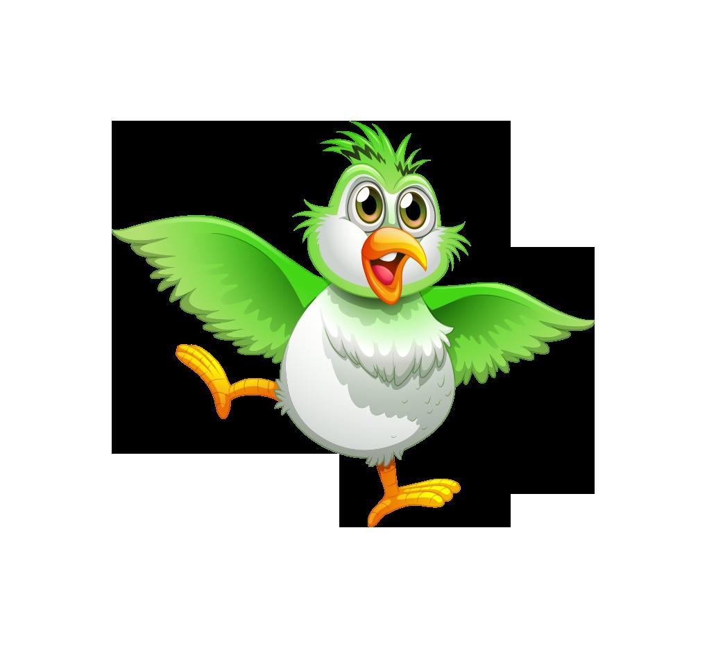 Bird true drawing illustration. Parrot clipart green indian