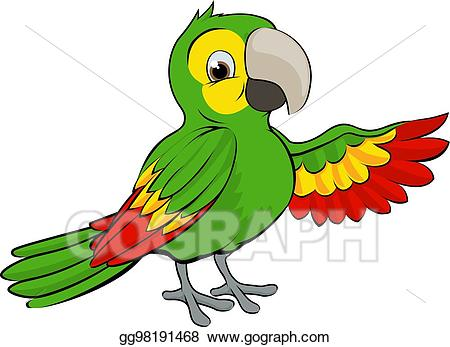 Vector stock cartoon illustration. Parrot clipart green parrot