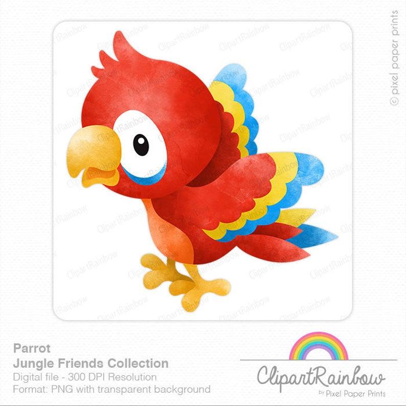Macaw clip art watercolor. Parrot clipart jungle parrot