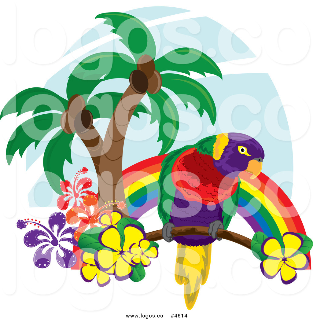 Parrot clipart palm tree. Royalty free with trees
