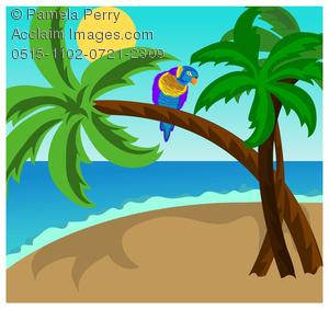 Clip art illustration of. Parrot clipart palm tree