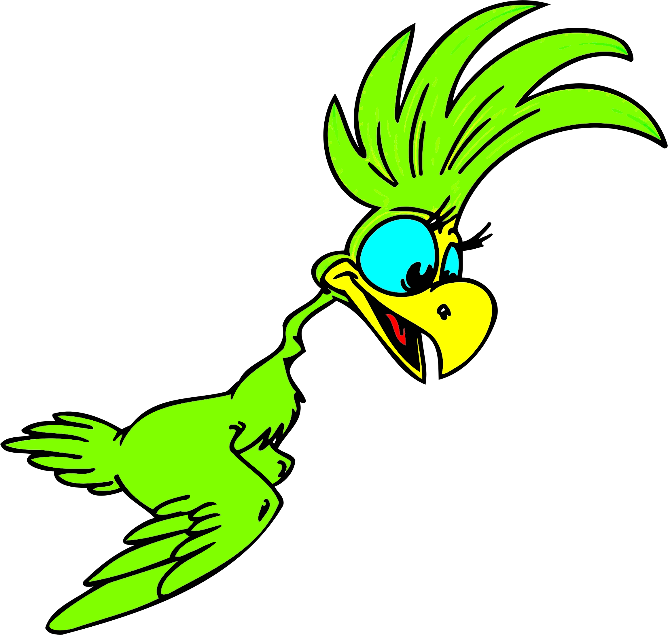 Green cartoon big image. Parrot clipart palm tree