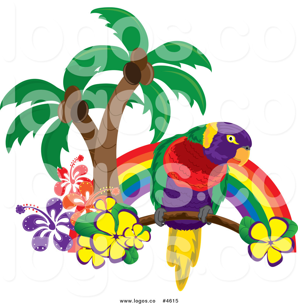 Royalty free with palm. Parrot clipart rainbow