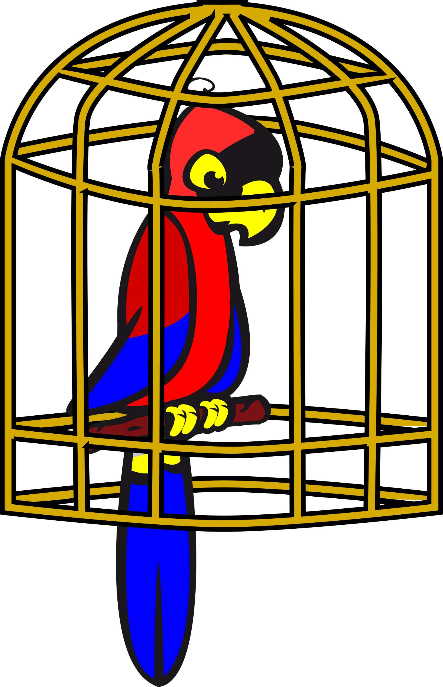 Parrot in a big. Cage clipart animal cage