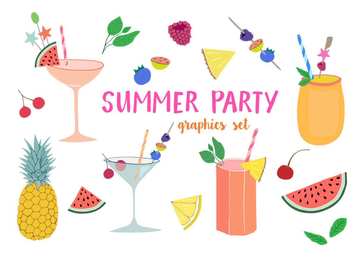 Party clipart. Summer set by the