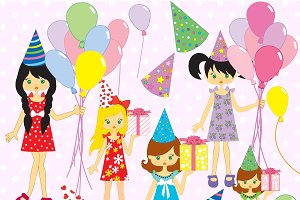 Party clipart. Girl watercolor illustrations creative