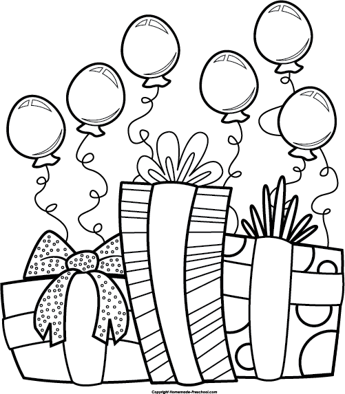 Birthday balloons things to. Party clipart black and white