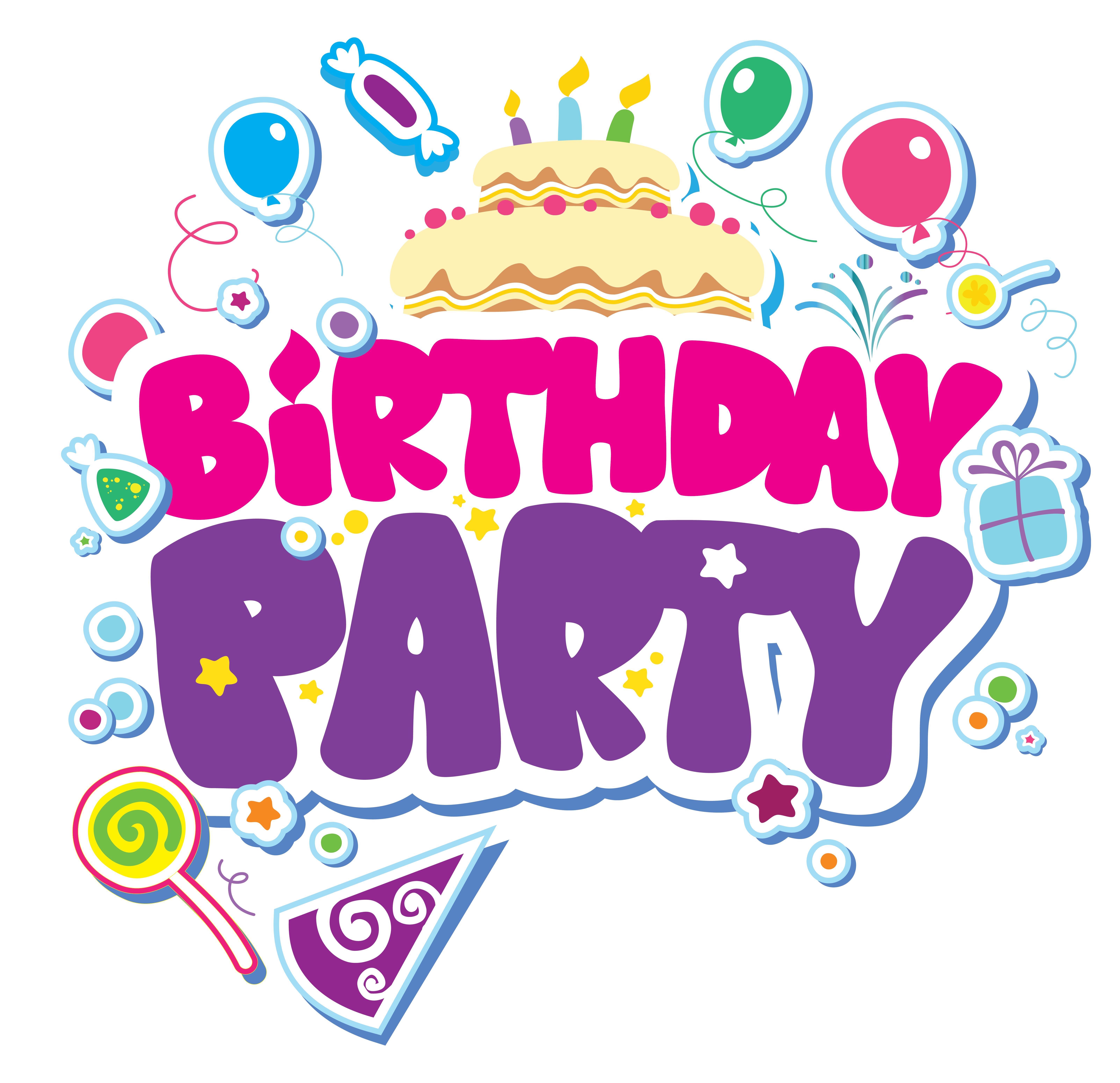 collection of party. Surprise clipart birthday celebration