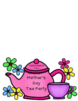 Tea invitations rsvp cards. Party clipart mothers day