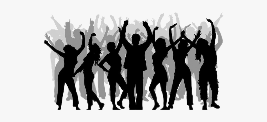 Crowd silhouettecrowd dancing . Party clipart silhouette