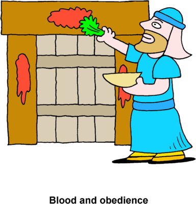 Image painting lamb blood. Passover clipart