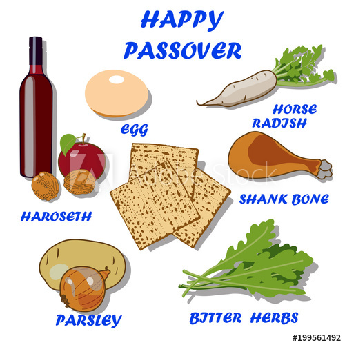 Products for seder plate. Passover clipart shank bone