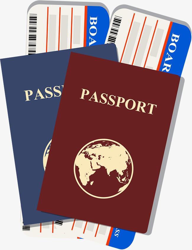 Red ticket air tickets. Passport clipart