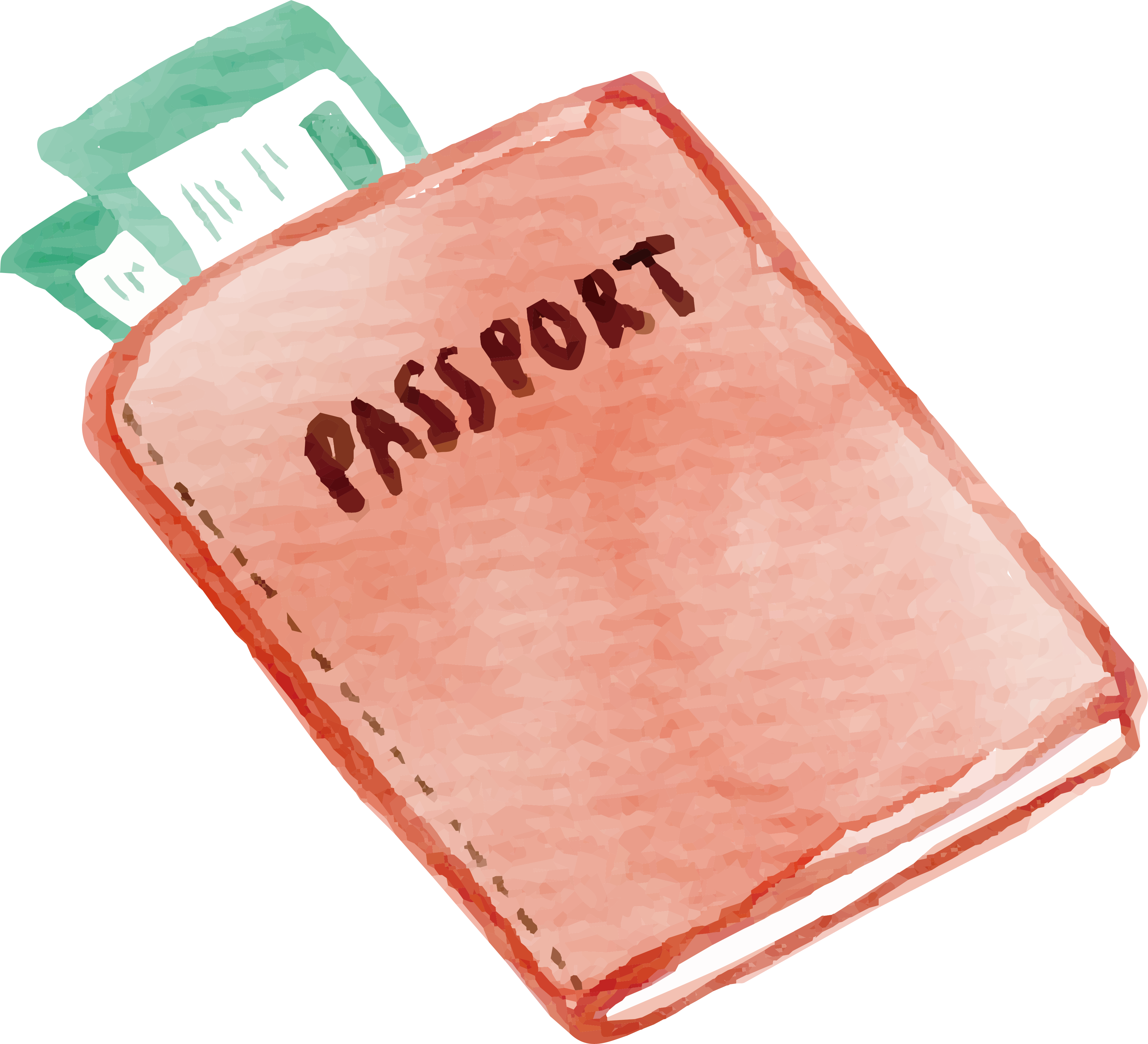 Watercolor painting baggage travel. Passport clipart airline ticket