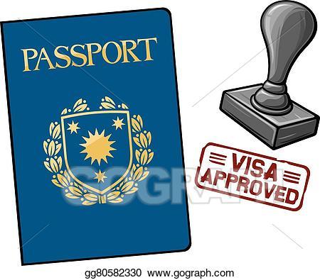 Passport clipart approved visa. Vector stock