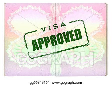 Passport clipart approved visa. On stock illustration