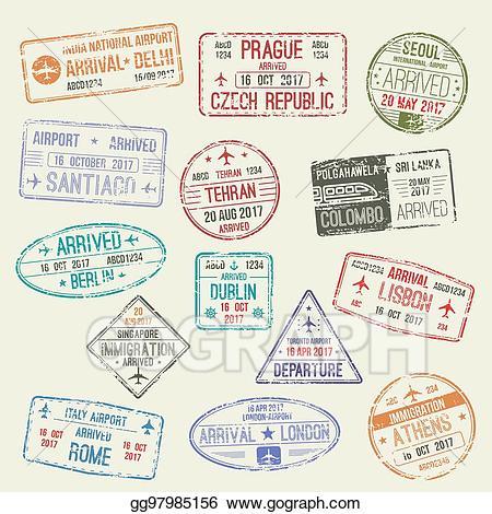 Vector stamp of visa. Passport clipart international travel travel