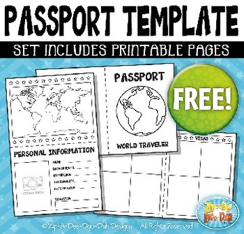 Free booklet template bundle. Passport clipart learning