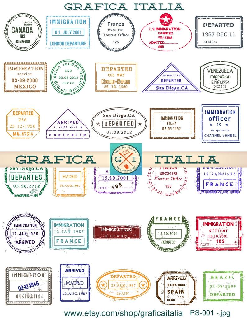 international stamps digital. Passport clipart printable