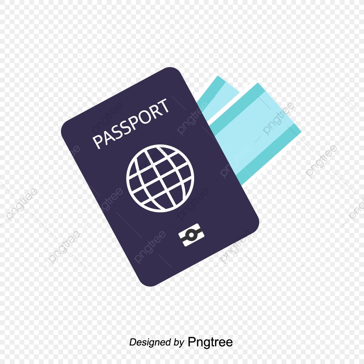 Blue visa ticket element. Passport clipart transparent background passport