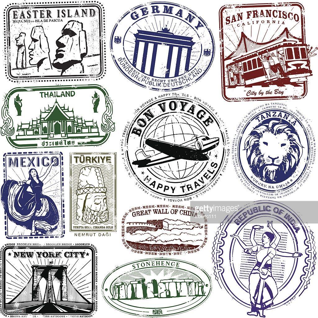 Passport clipart vintage. Series of stylized retro