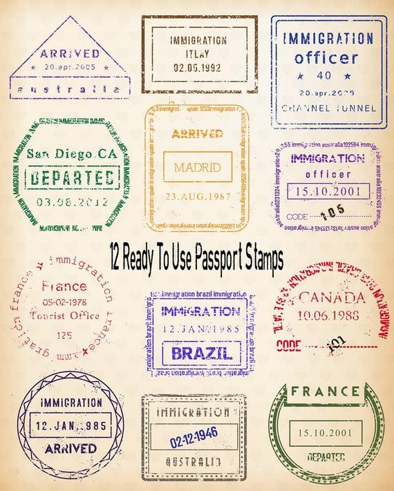 Stamp digital clip art. Passport clipart vintage