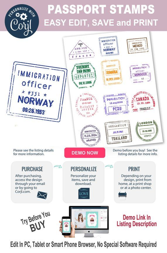 Passport clipart vintage. Editable international stamps personalize