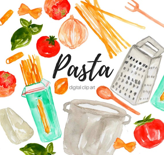 Watercolor food spaghetti cooking. Pasta clipart commercial