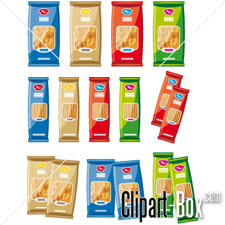Packets set cliparts vector. Pasta clipart pasta packet