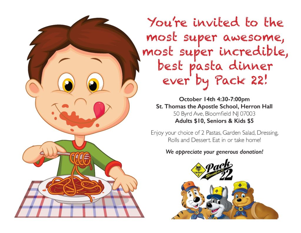 Pasta clipart school dinner. Bloomfield cub scouts pack