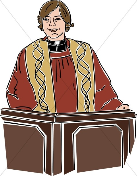 Female preacher behind lectern. Pastor clipart