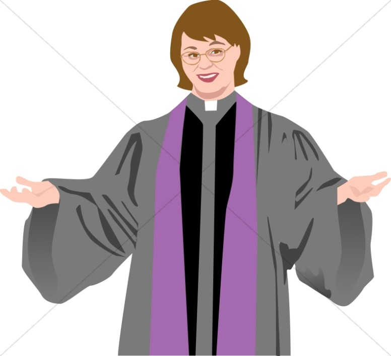 Preacher with open arms. Pastor clipart