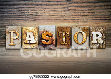 Stock illustration concept letterpress. Pastor clipart word