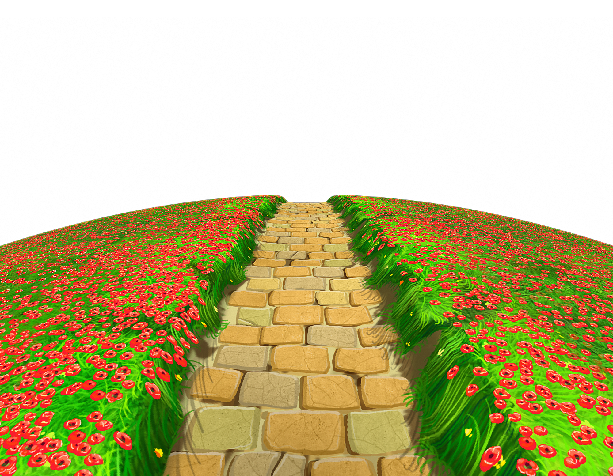 Goals clipart path. Stone with flowers ground