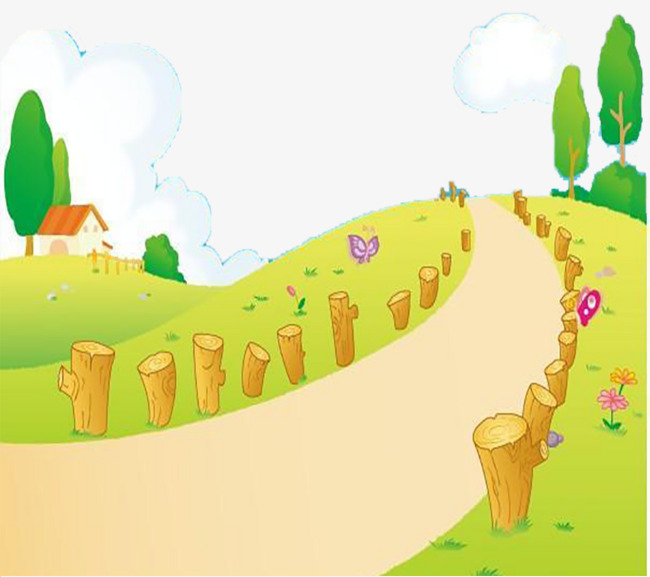 Forest cartoon mountain road. Path clipart