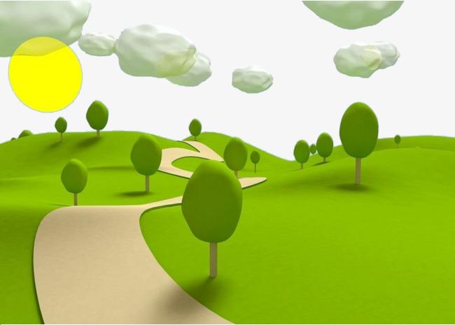 Path clipart. Green mountain cartoon road
