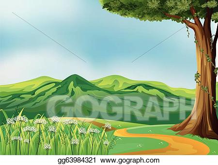 Vector illustration a at. Pathway clipart field sky
