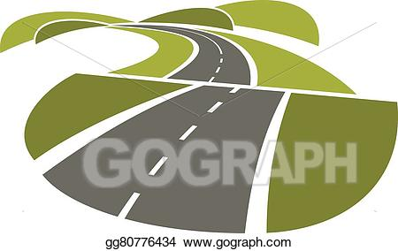 Pathway clipart hilly road. Vector stock abstract icon