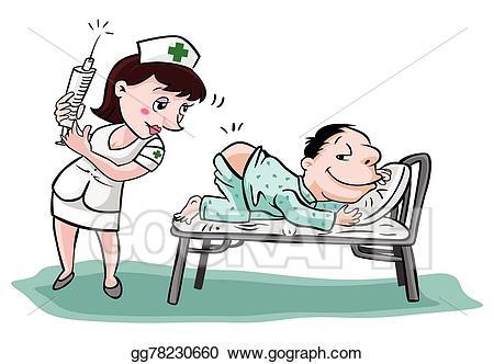 Patient clipart. Vector art nurse with