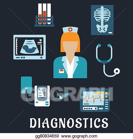 Vector art medical procedures. Patient clipart diagnostic test